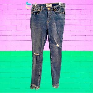FREE PEOPLE 28 Frayed-Hem Ripped Skinny Jeans